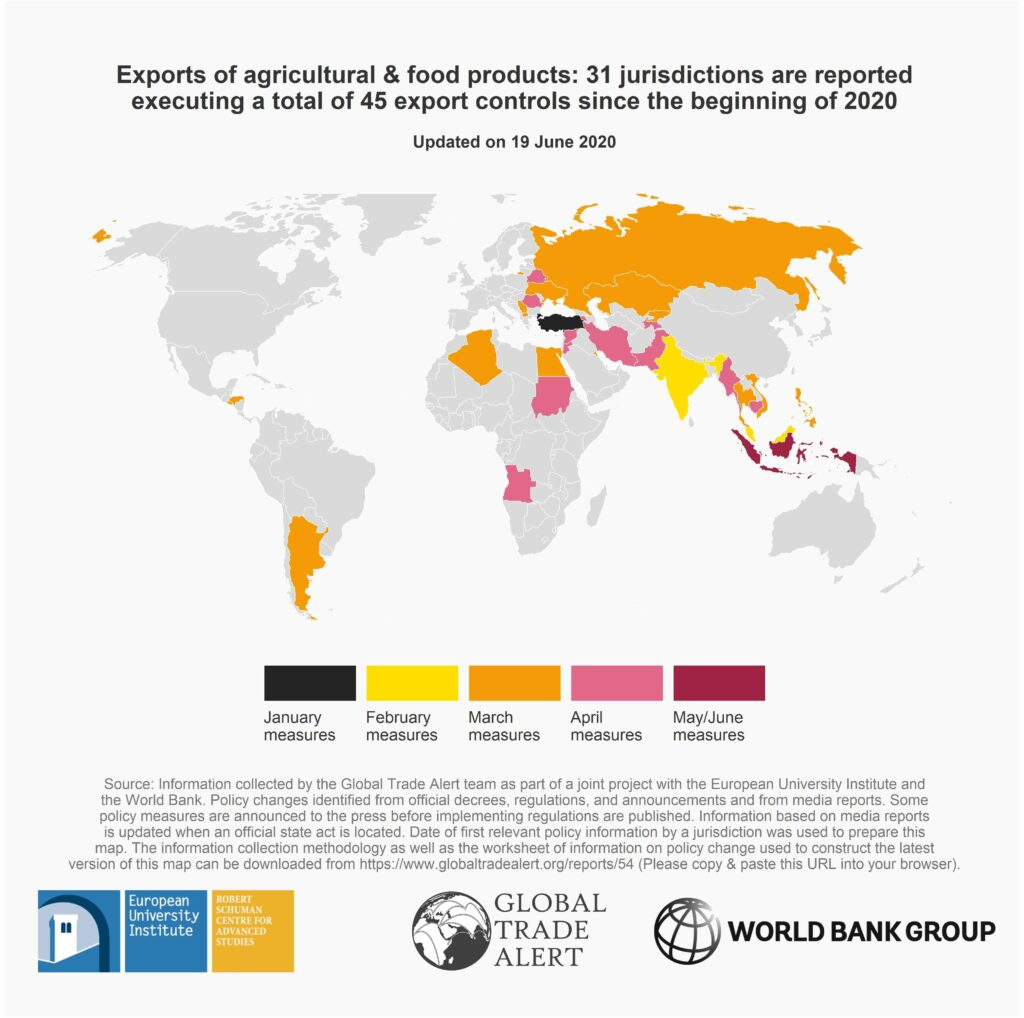 World Map of Export Reforms on Food
