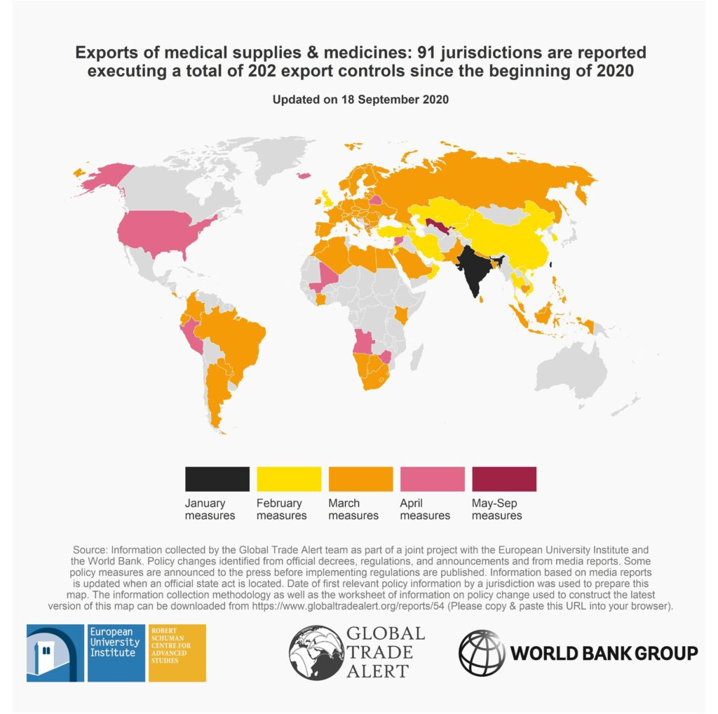 World Map of Export Reforms on Medical Supplies